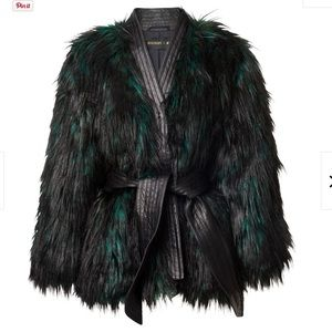 Balmain H&M Emerald + Black Faux Fur Wrap Coat 10